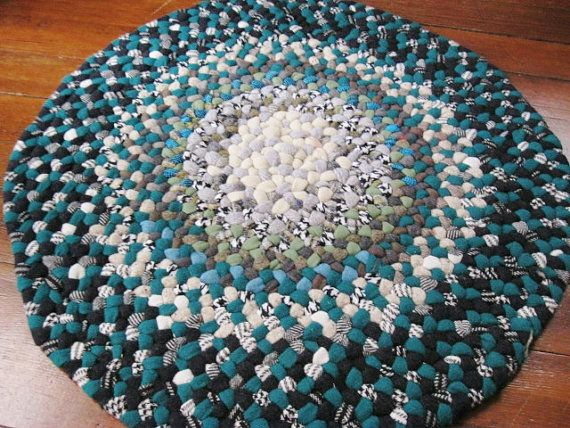 Ooak Braided Wool Rug In Shades Of Green With Blue Accents Made From Vintage