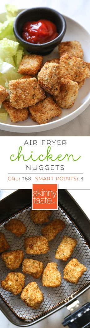 Making homemade Chicken Nuggets in the air-fryer is so much healthier than fast food or frozen nuggets, and so easy to make. Made with chunks of chicken breasts coated in breadcrumbs and parmesan cheese then air fried until golden and crisp. These also happen to be egg-free, so they are also great for kids with egg allergies. #chickennuggets #homemadechickennuggets #airfryerrecipes #airfryer
