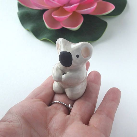 Koala Totem Handmade Ceramic Miniature Figurine Cake Topper
