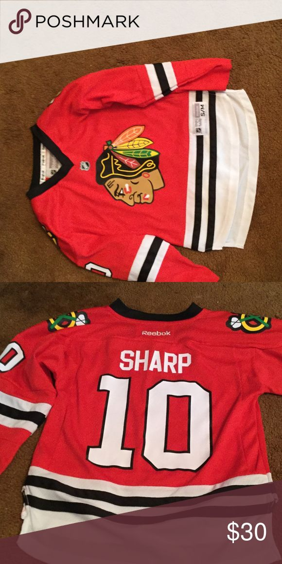 Youth size s/m sharp blackhawks jersey!! This is a sharp jersey. Youth size s/m, lightly worn. (About 3 times). Reebok  Other