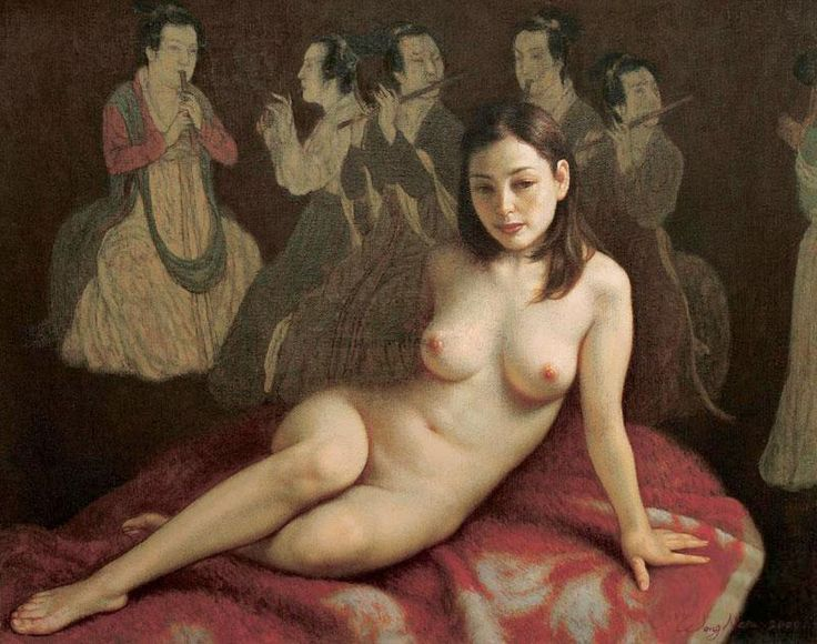 wang nen   naked before a traditional chinese painting