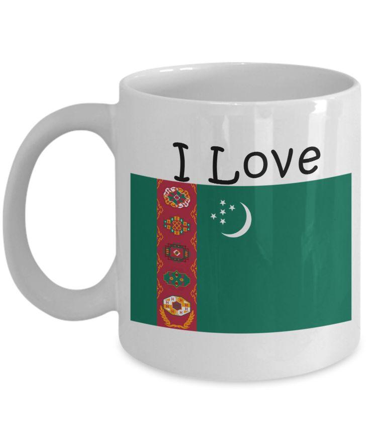 I Love Turkmenistan Coffee Mug With A Flag