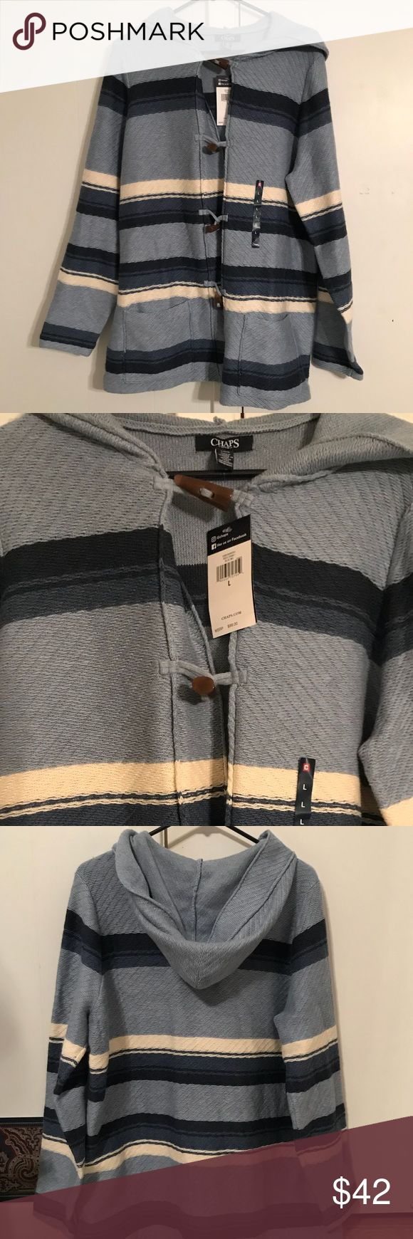 Women's large sweater / hoodie Women's large striped multi colored sweater/hoodie. It's mainly a light blue but has horizontal stripes which are navy blue and white. It's really soft and has a hood It has these really cool buttons down the front. It was a gift, i really do love it, but downsizing my life at this time unfortunately. Chaps Sweaters Cardigans