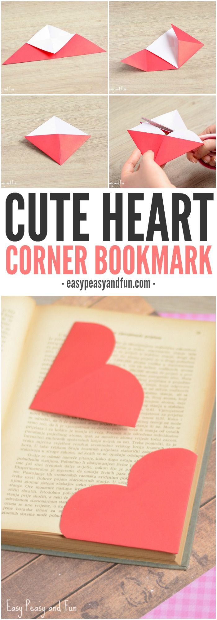 Valentine bookmark to color - Heart Corner Bookmarks