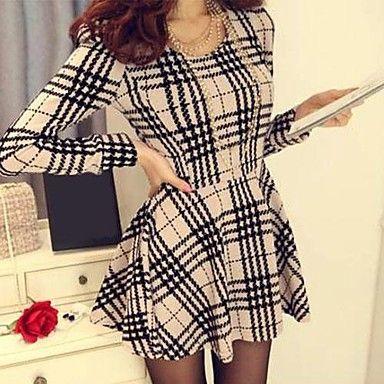 Women's Slim Long Sleeve Houndstooth Dress