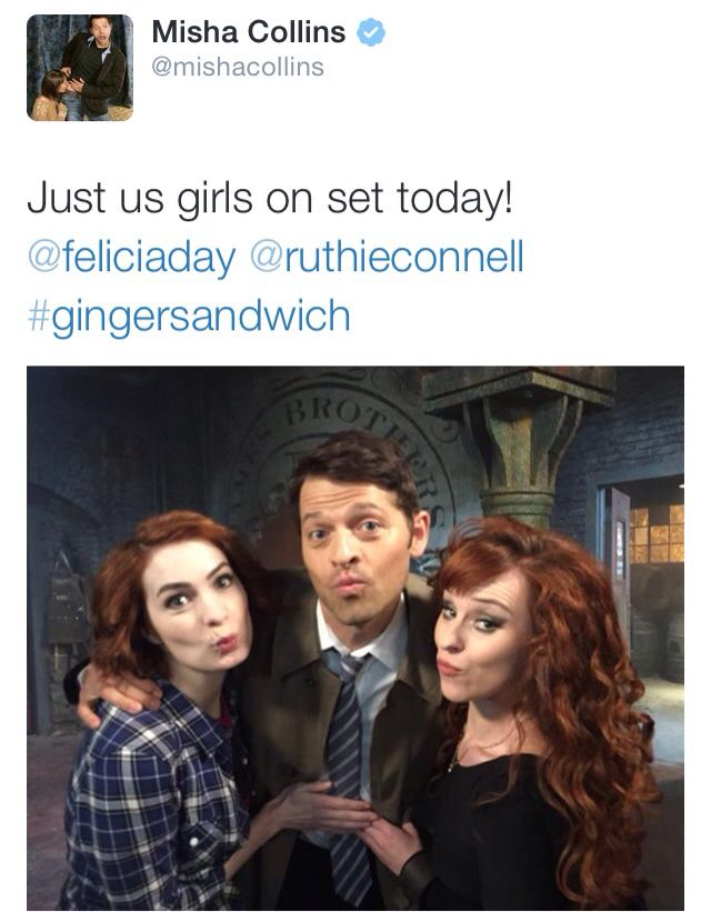 Misha's tweet #Supernatural || Misha Collins || Felicia Day || Ruthie Connell                                                                                                                                                     Mais