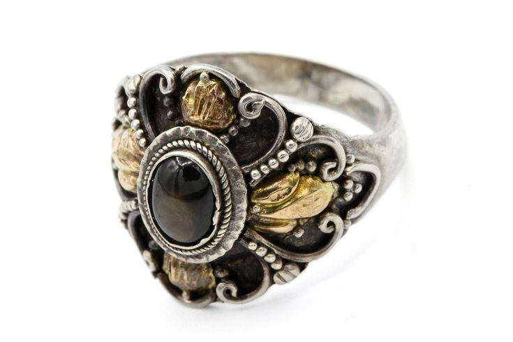 Cats Eye Gemstone Ring, Southwestern Ring, 925 Sterling Ring, Silver Gold Ring, Brown Cats Eye Stone, Cowgirl Jewelry, Womens Ring Size 5, Scroll Design Ring, Chrysoberyl Ring, Silver Filigree Ring, Two Tone Ring, Mixed Metal Ring, Native American Inspired, Natural Cats Eye Jewelry,