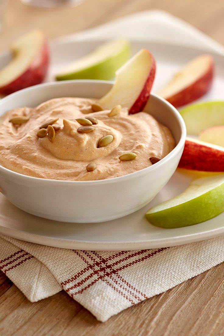 Cream Cheese Pumpkin Dip   Safeway - Sweet pumpkin puree shines alongside cream cheese, ricotta and cinnamon in this flavorful and creamy dip. Pair with crisp apple slices to make a fantastically fresh fall treat!