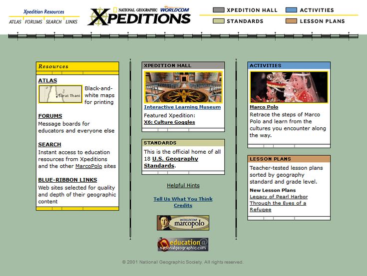 National Geographic Xpeditions website in 2001