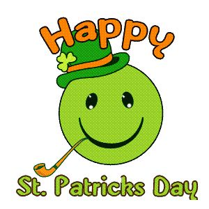Green animated St Patrick's day happy face gif image