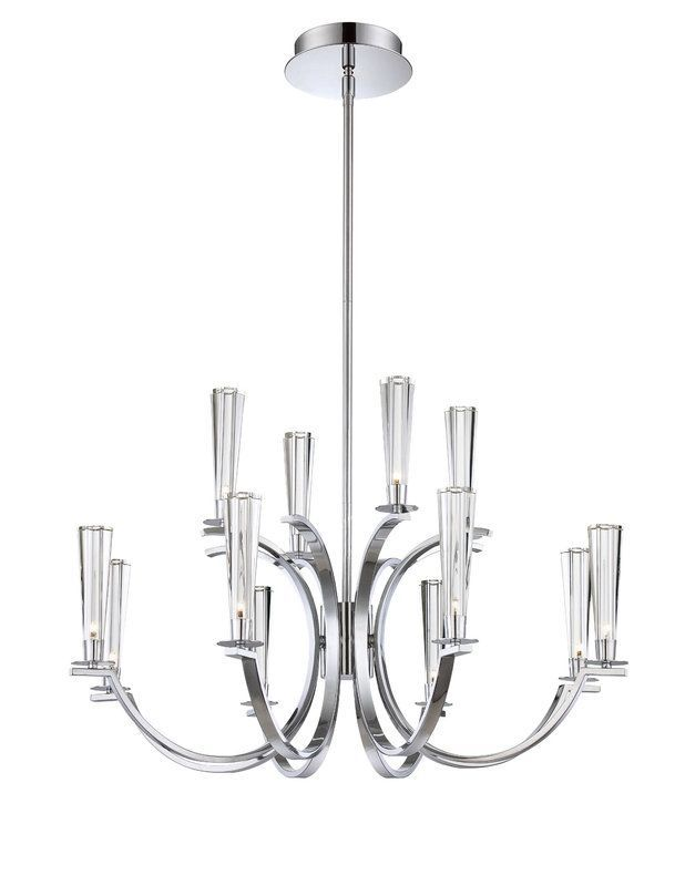 Eurofase Lighting 25635 Cromo 12 Light Two Tier Chandelier with Glass Cone Shade Polished Chrome Indoor Lighting Chandeliers