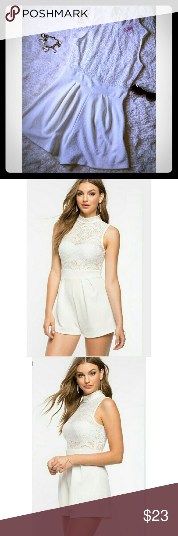 A'gaci White Lace Top Romper Size Medium Brand new with tags A'gaci White Kyle lace romper size Medium. Zips in back, top is see thru but will look cute with bra or bandeau top under. Perfect with heels or wedges for spring or summer ?? a'gaci Dresses Mini