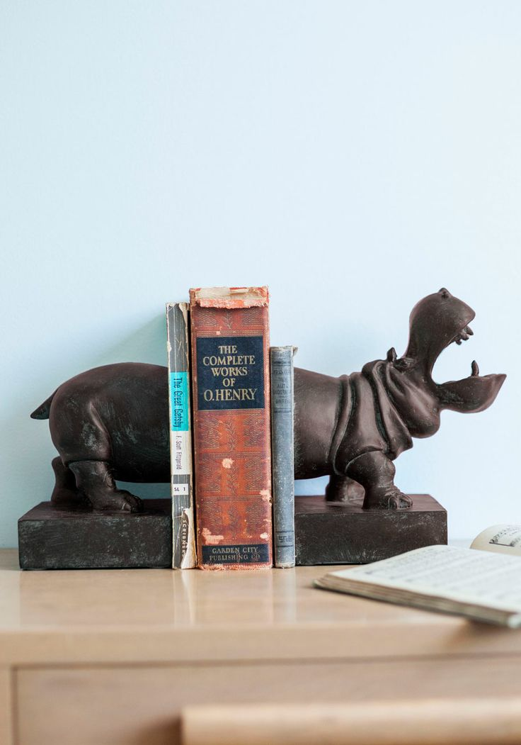 Bookends - Grey, Solid, Print with Animals, Dorm Decor
