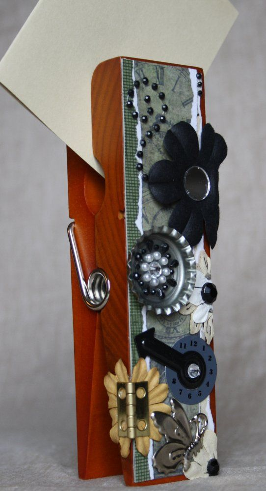 Steampunk Extra Large Clothespin Photo/Note Holder
