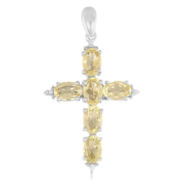 Zilveren hanger met gele berillstenen-6171JH | Juwelo sieraden
