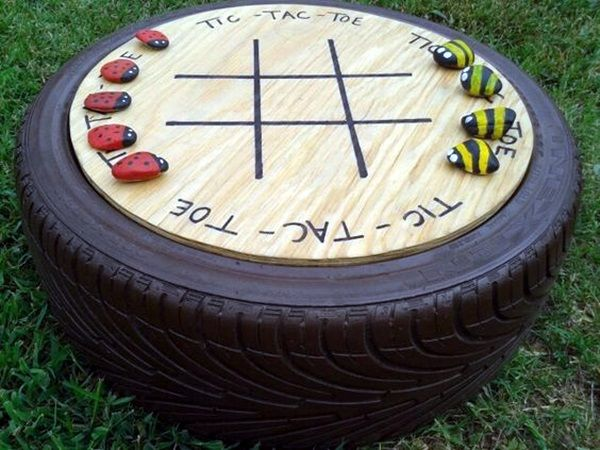 Would Be Neat To Make A Table Out Km Tic Tac Toe Yard Game.used Old Tire,  Spray Painted To Match Shutters, Stained Plywood, Painted Rocks Per Another  Pin