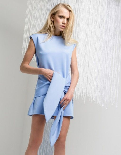Our Cameo Collection powder blue shift dress with tie detail is for all of our fashionistas! we <3