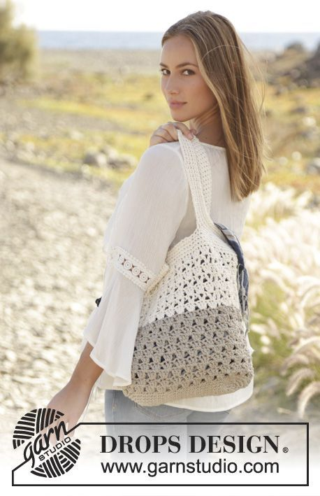 Crochet bag with lace pattern in 2 strands DROPS Bomull-Lin. Free pattern by DROPS Design.