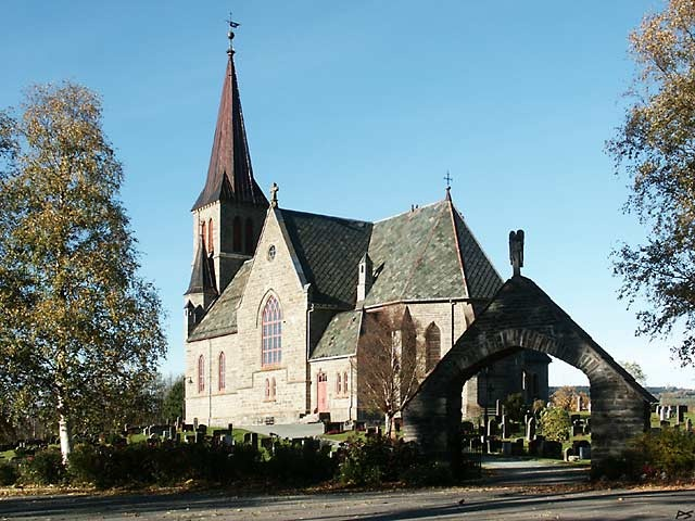 """The Melhus stone church was finished in 1892. It is sometimes called """"The Gauldal Cathedral"""". Melhus in the valley Gauldal is located a few kilometers south of Trondheim."""