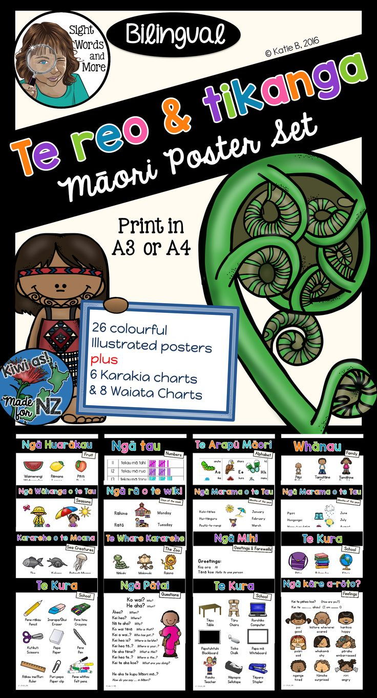 26 colourful, bilingual (Maori and English) posters plus 6 Karakia and 8 Waiata to assist you in incorporating te reo and tikanga M?ori into your classroom display and programme.