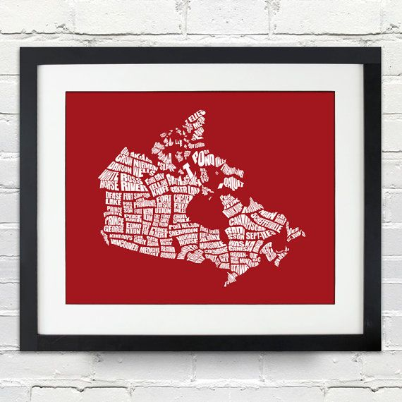 Canada Word Map  A typographic word map of cities of by inkofme, $15.00