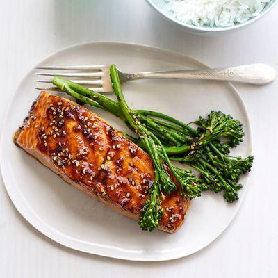 Teriyaki Glazed Salmon with Grilled Sesame Broccolini by delish: The teriyaki sauce on this grilled salmon leaves a sweet taste thanks to pineapple juice and light brown sugar. #Salmon #Teriyake #Broccolini #Healthy