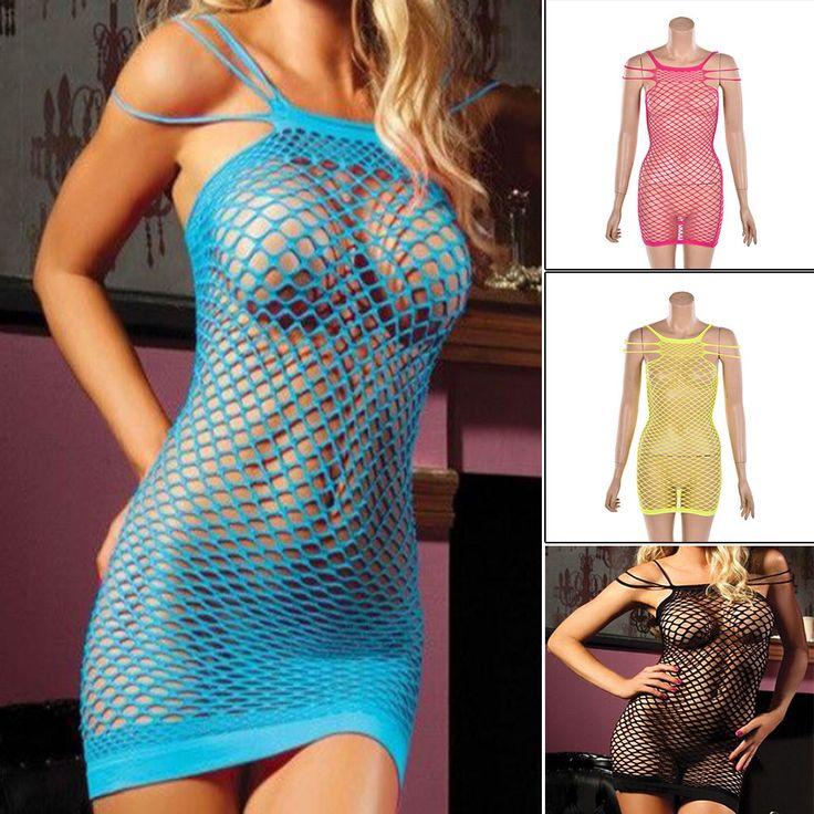 Women  Lingerie Fishnet Bodystocking Mini Dress Babydoll Nightwear Underwear  K8