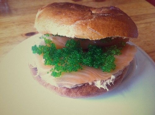 Bagel with Smoked Salmon, Tuna Rillettes, Wasabi Flying Fish Roe