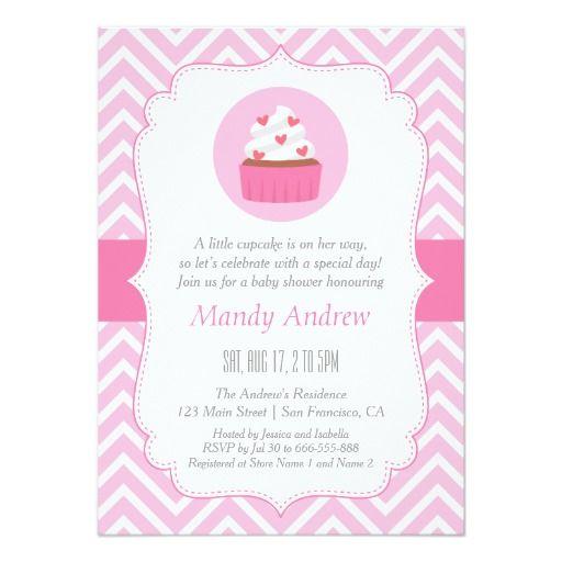 Elegant Pink Chevron Cupcake Baby Girl Shower Card