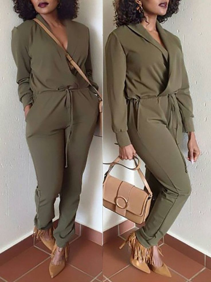 Sexy Turn Down Collar Drawstring Jumpsuit Bonaire 2017 vliegtuig outfit