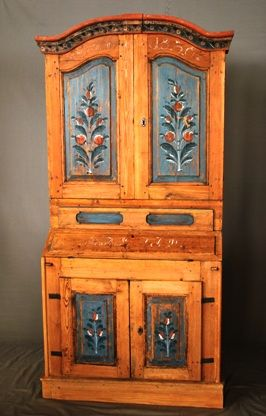 Antique Swedish Secretary-Hutch Cabinet, Ci - Danish Country Antiques .