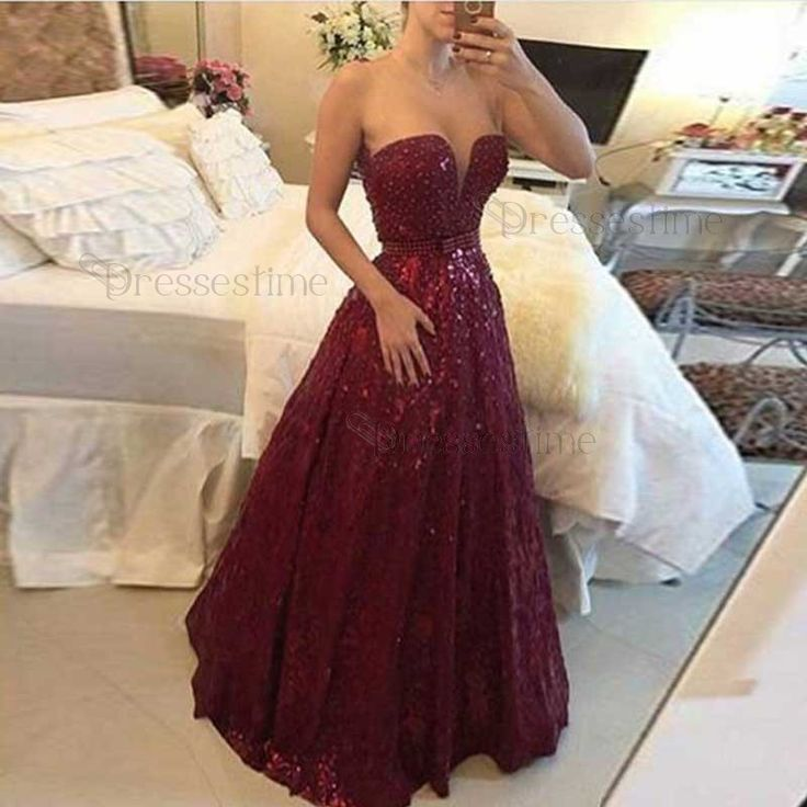 A-Line Floor-Length Burgundy Lace Beading Bowknot Prom Dress with Illusion Jewel