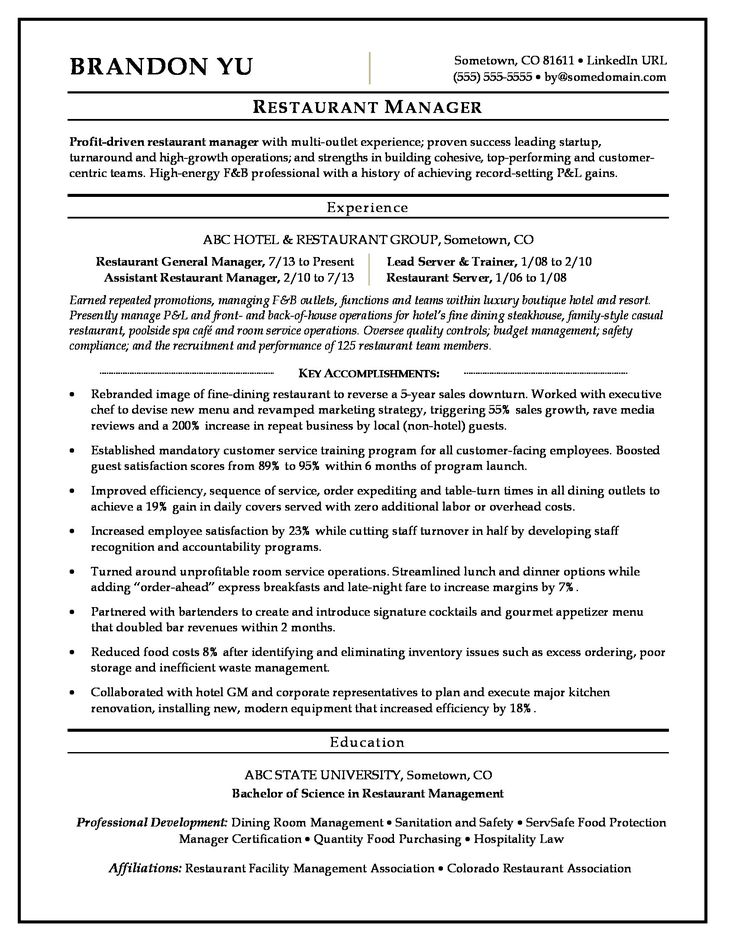 Sample resume for a restaurant manager Manager resume