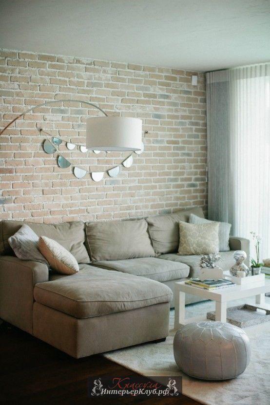 27 Белая кирпичная стена в интерьере гостиной, белые кирпичные стены в интерьере, дизайн интерьера с кирпичной стеной