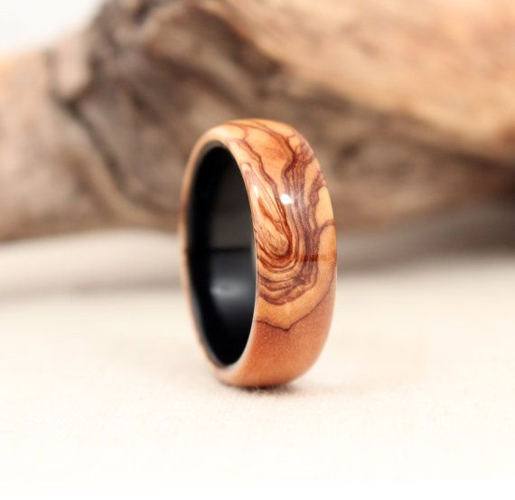 Bethlehem Olive Lined With Gabon Ebony Wood Ring by WedgewoodRings, $95.00