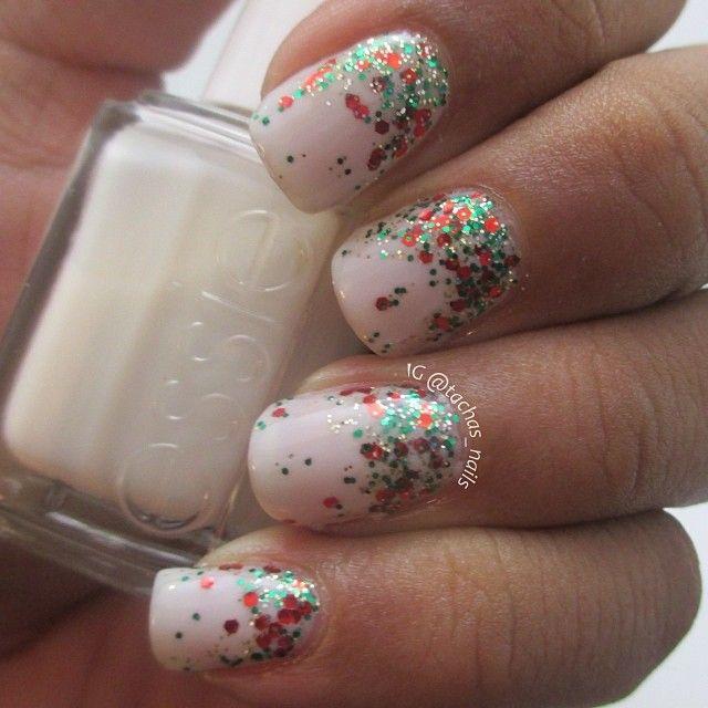 Christmas glitter gradient nails Essie Waltz, China Glaze Hearty Party