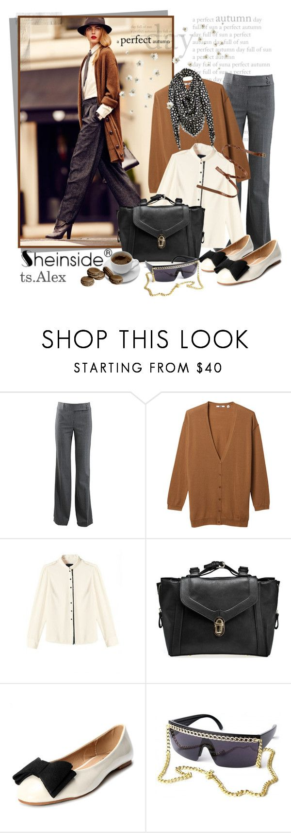 """Lets get ready for autumn"" by ts-alex ❤ liked on Polyvore featuring iEva, Michael Kors, Uniqlo, Frame Chain, H&M, Louis Vuitton, studded handbags, ballet flats, long cardigans and bow pumps"