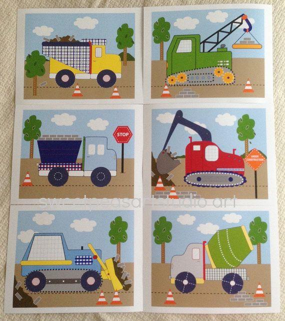 Construction Busy Builder Trucks Art Prints Hauler Bulldozer Dump Mixer for Boys Kids Bedding Decor