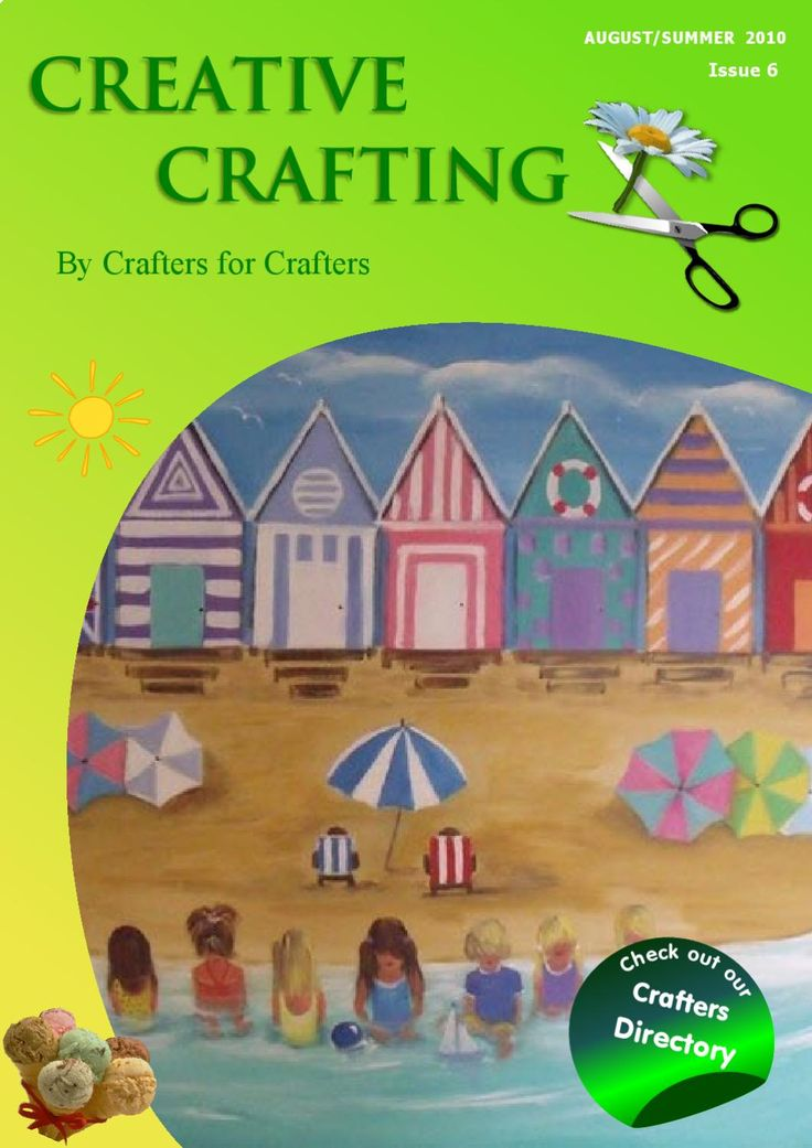 Creative Crafting Summer 2010  A friendly publication created by Crafters for Crafters.  A  showcase of beautiful items, plus interviews, articles, recipes, projects and much more.  If you would like to be involved just let us know.  Don't miss out Crafters Directory that offers very low cost clickable adverts.