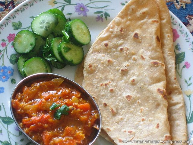... Tomato Onion Gojju served with hot rotis and a quick Tender Cucumber