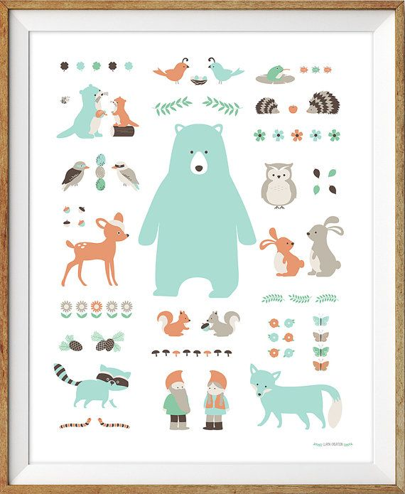 Woodland Nursery Art Woodland Animal Poster by LlamaCreation