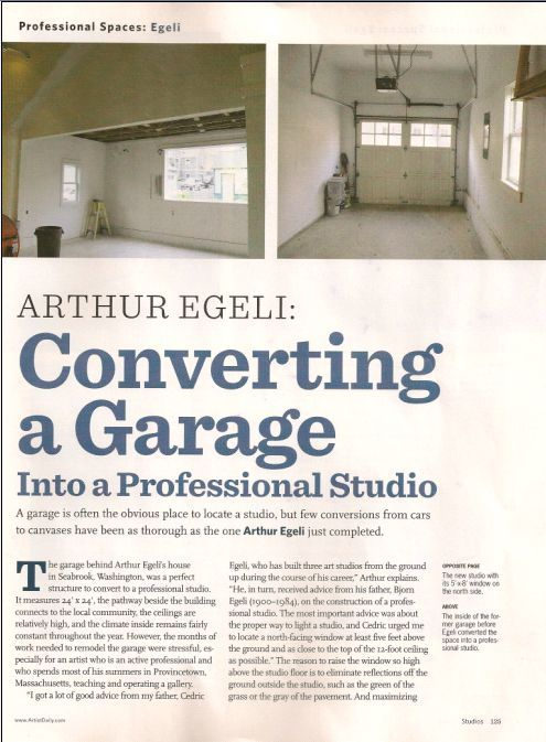 American Artist - Converting a Garage into a Professional Studio article