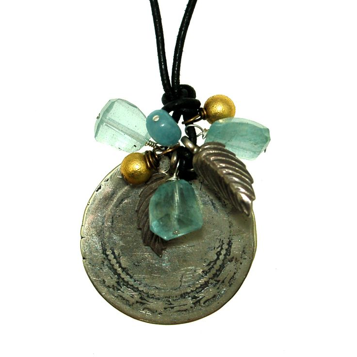 Silver Coin with Aquamarine Cluster on Leather (N1911MW) $160