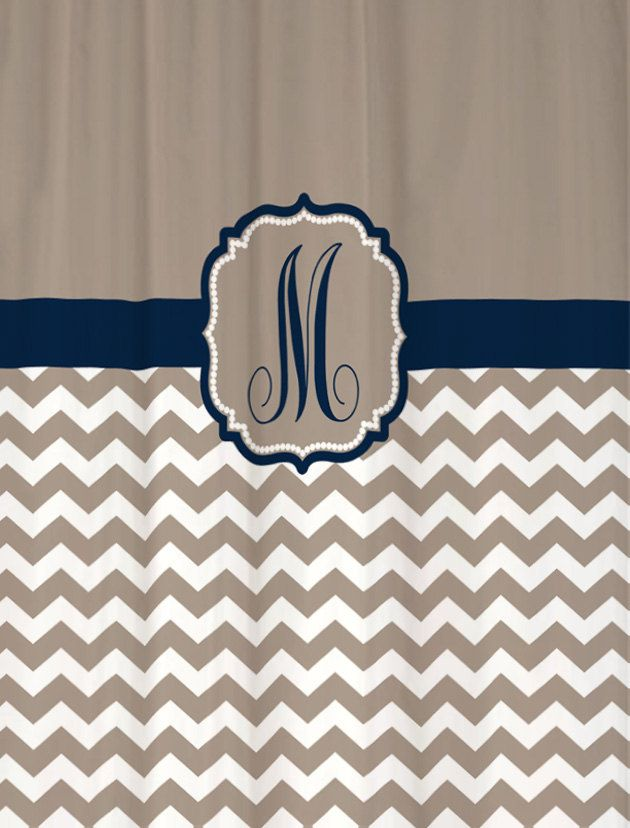 "Shower Curtain - Taupe Beige Chevron with Navy Accents - 69x70"" - 100% Polyester - Monogram Personalized Custom. $69.00, via Etsy."