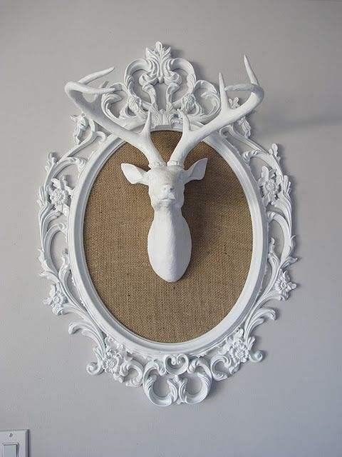 Fabric framed antlers. Think I'll do this with a silhouette instead.