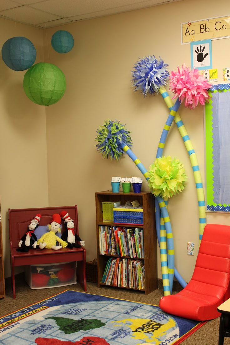 A Dr. Seuss Classroom complete with Truffula Trees made from pool noodles.  These would