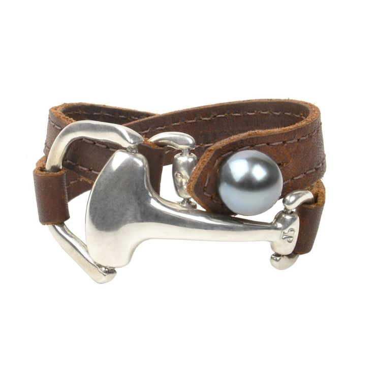 Montana Double Wrap -Sterling Silver Equestrian Bit -Premium Leather -Tahitian Pearl -Can be worn as a bracelet of choker VINCENT PEACH