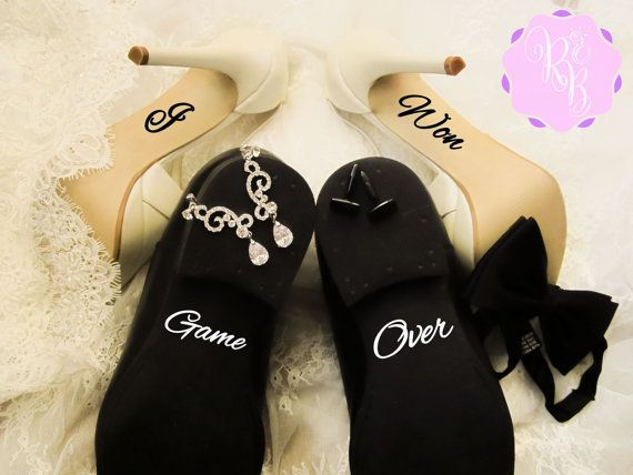 Check out this item in my Etsy shop https://www.etsy.com/uk/listing/260271223/wedding-shoes-decal-set-i-won-game-over