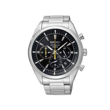 SSB087P1 Ανδρικό μοντέρνο ρολόι SEIKO με χρονογράφο, ημερομηνία, μαύρο καντράν, στεφάνη & ατσάλινο μπρασελέ | SEIKO ρολόγια ΤΣΑΛΔΑΡΗΣ στο Χαλάνδρι #Seiko #χρονογραφος #μαυρο #μπρασελε #ρολοι
