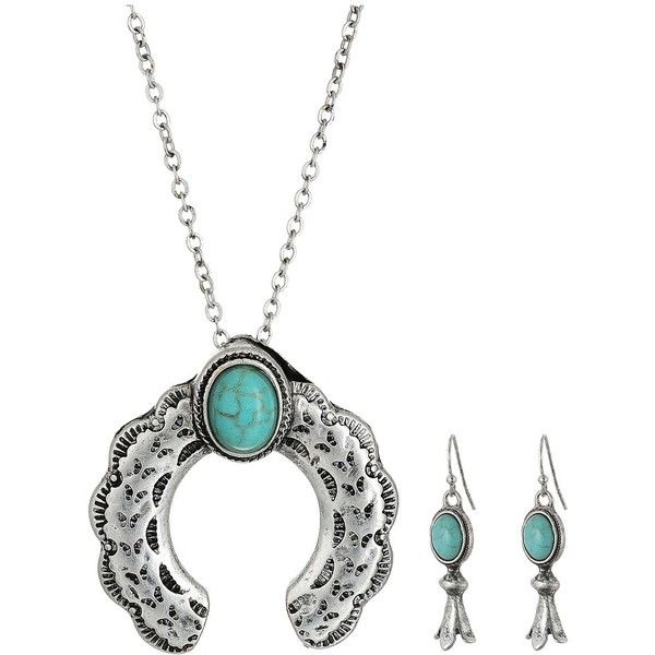 M&F Western Small Squash Blossom Necklace/Earrings Set (Silver)... ($20) ❤ liked on Polyvore featuring jewelry, earrings, hook earrings, flower pendant, cowgirl jewelry, silver earrings and western jewelry